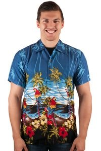 Hawaii Hemd Papagei Palmen Retro Look