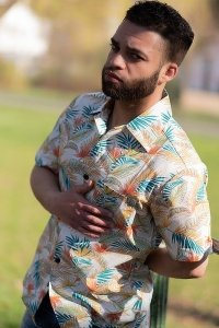 Creamy hawaii aloha shirt with palm fronds