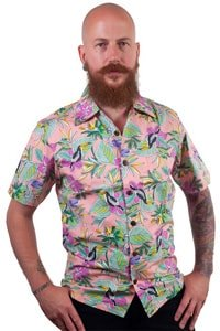 Colorful retro tropical pattern aloha shirt pink limited