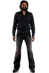 Black used washed bootcut stretch jeans