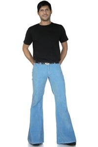 70s corduroy flared pant light blue retro look 32/34