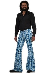 Blue white 70s retro pattern bellbottom pant 36/36