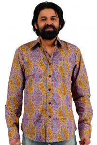Lilac colorful 70s indian paisley pattern shirt