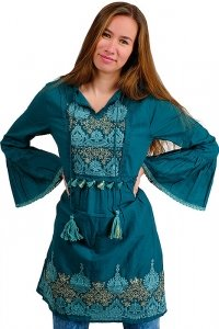 Bohemian Ibiza style 70s mini dress with stitchery chocolate turquoise