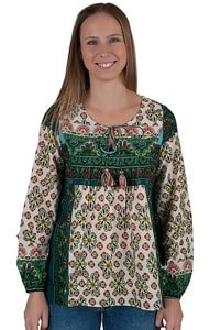 Bohemain 70s flower power blouse green