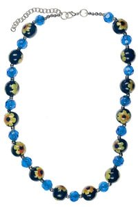 Hippie flower necklace blue