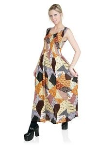Langes Patchwork Hippie Look Kleid bunt