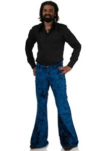 Velvet bellbottom pant Star velvet blue