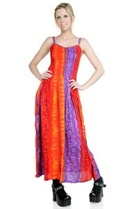 Langes Blumen Hippie Kleid orange lila