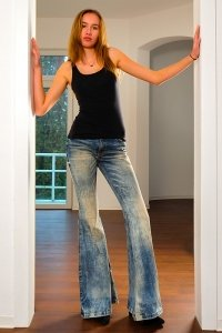 70s boho style bell bottom jeans Star Bandit light dirty look
