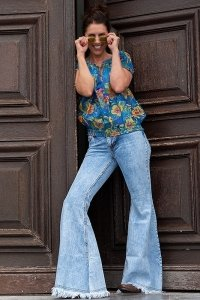Fringed bellbottom 70s boho hippie jeans with wide flare Mega Star Frazer