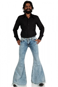 70s fringed jeans with very big flare Mega Star Frazer
