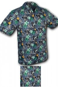 Aloha hawaiian shirt short sleeved navy green