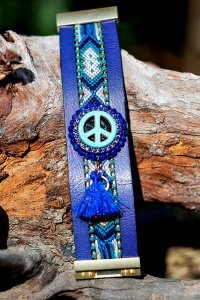 Blaues Peace Ibiza Hippie Look Armband One Size