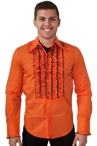70s clothing men shirt orange with ruffles M