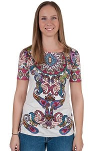 White colourful paisley flower pattern GOA Hippie Look t-shirt