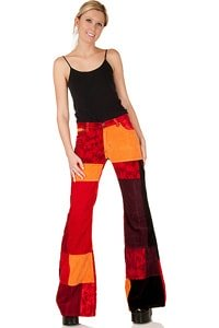 Orange bunte Patchwork Damen Cordschlaghose