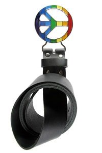 Black colorful peace buckle hippie leather belt