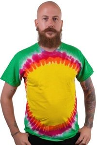Yellow colorful tie-dye hippie look t-shirt circle