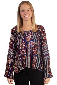 Ethno flower pattern 70s retro blouse