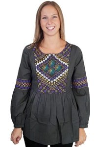 Boho hippie tunic blouse khaki with embroidery
