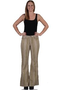 Bohemian Style striped corduroy flares beige green
