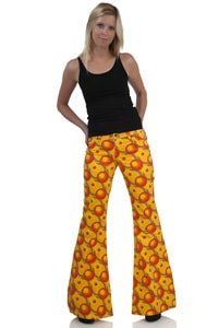 70s dots pattern flares orange yellow