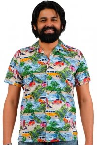 Multi colored hawaiii aloha shirt retro look
