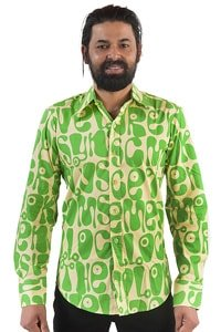 Seventies men party shirt green hippie style XL