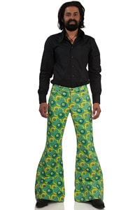 70s bell bottom flare pant Star Dots green
