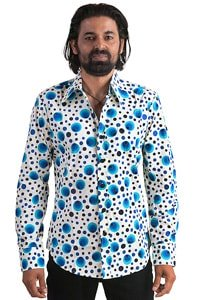 Seventies party shirt blue dots XL