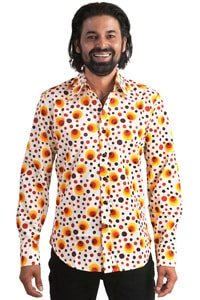 Seventies hippie style party shirt dots orange M