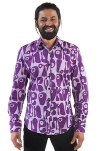 Seventies men party shirt violet hippie style XL