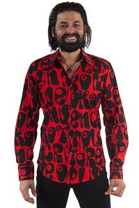 Seventies party shirt red black hippie style M