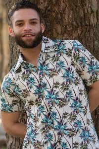 Creamy hawaii aloha shirt with colorful palms