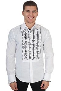 70s party shirt white with ruffles black M