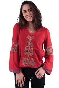 Embroidered 70s boho gypsy look blouse red