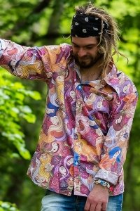 Multi coloured 70s psychedelic shirt
