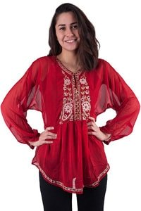 Red boho gypsy style tunic adorned