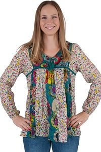 Colorful floral bohemian hippie tunic