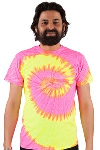 Batik T-Shirt Hippie GOA 70er Look Pink XL