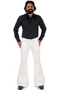 Bellbottom Pant Star Gabardine white low-waist flare 32/34