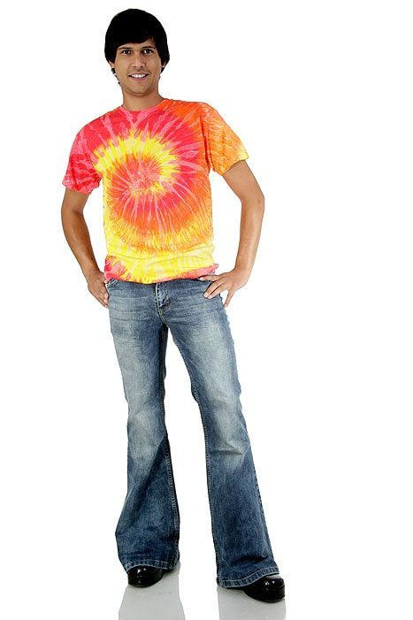 batik t shirt hippie goa 70er look orange 70er batik. Black Bedroom Furniture Sets. Home Design Ideas